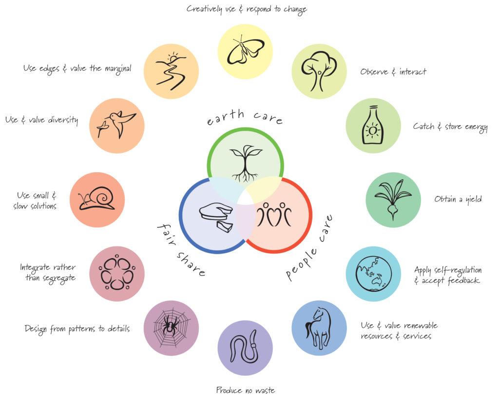 12-те принципа, изобразени като цвете.